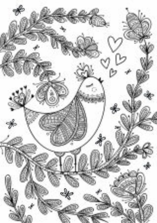 Beautiful detailed coloring page with bird in boho style with ornaments. Can be used as a sticker,card, design template, coloring page, print. Иллюстрация