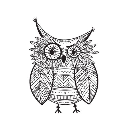 Beautiful detailed coloring page with owl in boho style with ornaments. Can be used as a sticker,card, design template, coloring page, print.