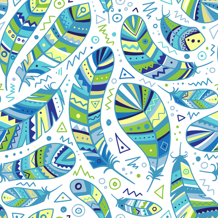 Colorful feathers seamless pattern in boho style with ornaments. Can be used as a background, pattern, wrapping paper, textile swatch, fabric, wallpaper, for children nursery, apparel Фото со стока - 127893633