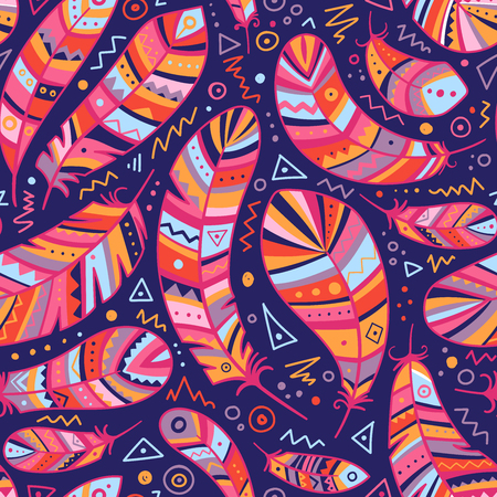 Colorful feathers seamless pattern in boho style with ornaments. Can be used as a background, pattern, wrapping paper, textile swatch, fabric, wallpaper, for children nursery, apparel