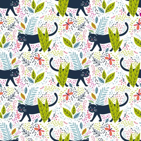 Black panther in jungle seamless pattern. Can be printed and used as wrapping paper, wallpaper, fabric, textile, background, kids apparel Фото со стока - 127893670