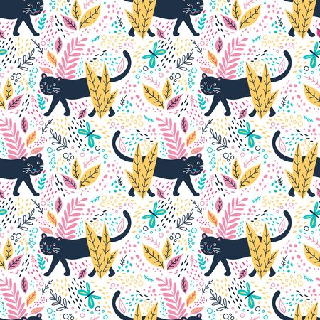 Black panther in jungle seamless pattern. Can be printed and used as wrapping paper, wallpaper, fabric, textile, background, kids apparel