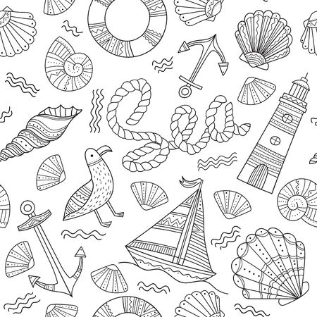 Sea theme seamless pattern in doodle boho style. Can be printed and used as wrapping paper, coloring page, wallpaper, textile, fabric, etc.