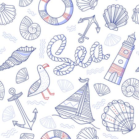 Sea theme seamless pattern in doodle boho style. Can be printed and used as wrapping paper, wallpaper, textile, fabric, etc. Иллюстрация