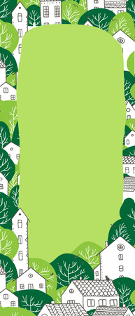 Illustration of spring, summer city with houses and green trees with space for text. Can be used as banner template, note sheet, to do list, poster, placard.