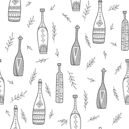 Bottles in boho style seamless pattern. Can be printed and used as wrapping paper, wallpaper, coloring page, textile, fabric, etc. Фото со стока - 127893676
