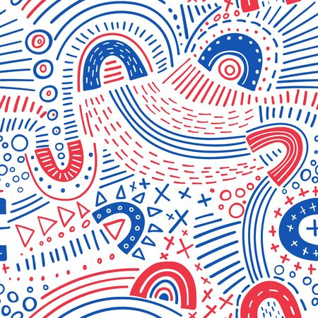 Vector abstract marker lines seamless pattern. Can be used as a background, pattern, wrapping paper, backdrop, wallpaper or as bag template, print for packet, apparel, textile, fabric etc. Фото со стока - 127893675