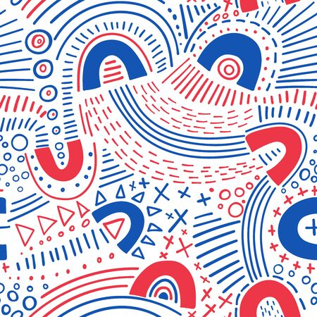 Vector abstract marker lines seamless pattern. Can be used as a background, pattern, wrapping paper, backdrop, wallpaper or as bag template, print for packet, apparel, textile, fabric etc. Фото со стока - 127893677
