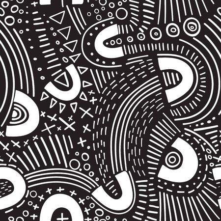 Vector abstract marker lines seamless pattern. Isolated, colorless. Can be used as a background, pattern, wrapping paper, backdrop, wallpaper or as bag template, print for packet, apparel, textile, fabric etc. Фото со стока - 127893733