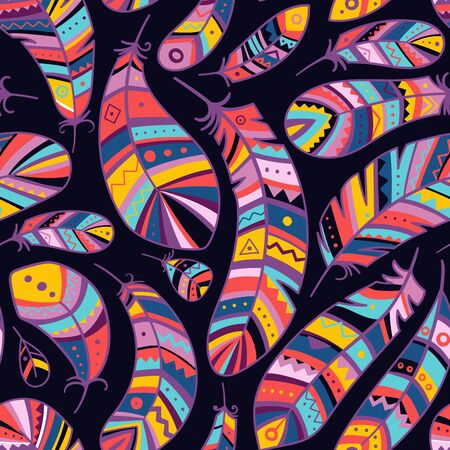 Colorful feathers seamless pattern in boho style with ornaments. Can be used as a background, pattern, wrapping paper, textile swatch, fabric, wallpaper, for children nursery, apparel Фото со стока - 127267848