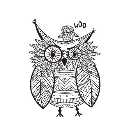 Beautiful detailed coloring page with owl in boho style with ornaments. Can be used as a sticker, card, design template, coloring page, print.