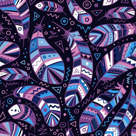 Colorful feathers seamless pattern in boho style with ornaments. Can be used as a background, pattern, wrapping paper, textile swatch, fabric, wallpaper, for children nursery, apparel Фото со стока - 127267849