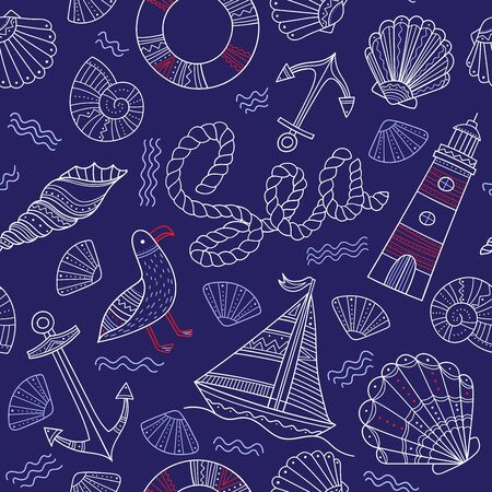 Sea theme seamless pattern in doodle boho style. Can be printed and used as wrapping paper, wallpaper, textile, fabric, etc. Çizim