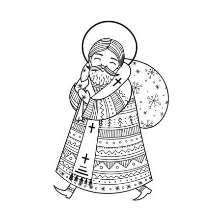 Saint Nicholas illustration in doodle boho style with ornaments.