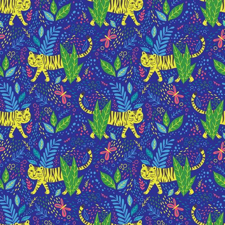 Vector childish tiger seamless pattern in jungle. Can be printed and used as wrapping paper, wallpaper, fabric, textile, background, etc Фото со стока - 127267851