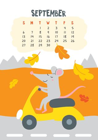 September. Vector calendar page with cute rat riding scooter - Chinese symbol of 2020 year. Editable template A5, A4, A3 size, can be printed and used as a desk, table, wall calendar for schedule and plans