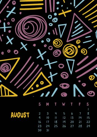 August. Vector colorful monthly calendar for 2020 year with abstract marker doodle. Editable template A5, A4, A3 size, can be printed and used as a desk, table or wall calendar for your schedule and plans.