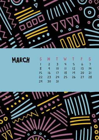 March. Vector colorful monthly calendar for 2020 year with abstract marker doodle. Editable template A5, A4, A3 size, can be printed and used as a desk, table or wall calendar for your schedule and plans. Illusztráció