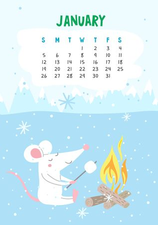 January. Vector calendar page with cute rat with marshmallow - Chinese symbol of 2020 year. Illustration