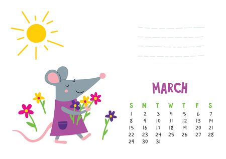 March. Vector calendar page with cute rat with flowers - Chinese symbol of 2020 year. Illustration
