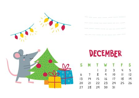 December. Vector calendar page with cute Christmas rat - Chinese symbol of 2020 year. Illustration