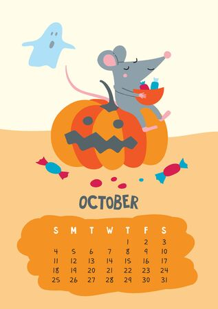 October. Vector calendar page with cute rat celebrate Halloween - Chinese symbol of 2020 year. Illustration