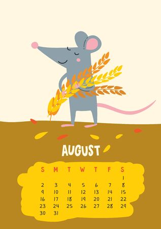 August. Vector calendar page with cute rat with harvest - Chinese symbol of 2020 year.