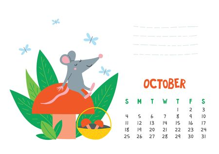 October. Vector calendar page with cute rat with mushroom - Chinese symbol of 2020 year. Illustration