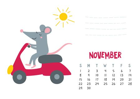 November. Vector calendar page with cute rat in travel - Chinese symbol of 2020 year.