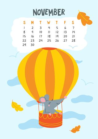 November. Vector calendar page with cute rat in air balloon - Chinese symbol of 2020 year. Illustration
