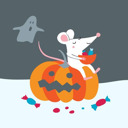 Vector illustration of cute rat sit on pumpkin celebrate Halloween with ghost.