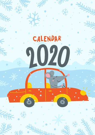 Vector calendar cover with cute rat travel by car - Chinese symbol of 2020 year.