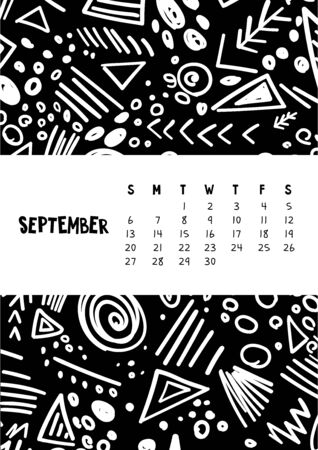 September. Vector colorful monthly calendar for 2020 year with abstract marker doodle.