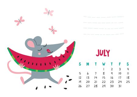 July. Vector calendar page with cute rat with watermelon - Chinese symbol of 2020 year.