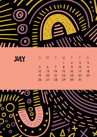 July. Vector colorful monthly calendar for 2020 year with abstract marker doodle. Illustration