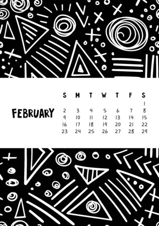 February. Vector colorful monthly calendar for 2020 year with abstract marker doodle.