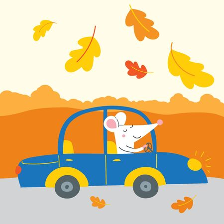 Vector illustration of cute rat traveling by car for autumn weekend, Thanksgiving holiday. Illustration