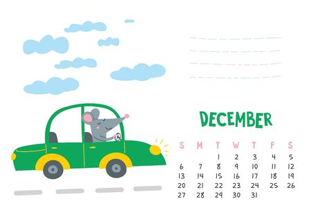 December. Vector calendar page with cute rat in travel - Chinese symbol of 2020 year.