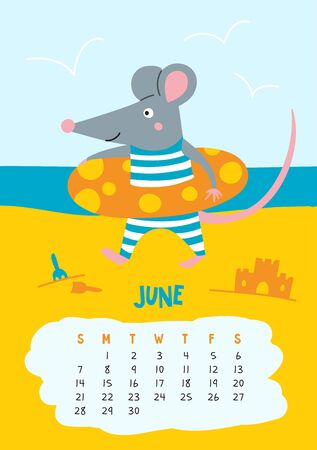 June. Vector calendar page with cute rat at beach - Chinese symbol of 2020 year. Editable template A5, A4, A3 size, can be printed and used as a desk, table, wall calendar for schedule and plans Illustration