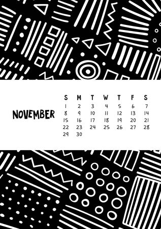 November. Vector colorful monthly calendar for 2020 year with abstract marker doodle. Editable template A5, A4, A3 size, can be printed and used as a desk, table or wall calendar for your schedule and plans.