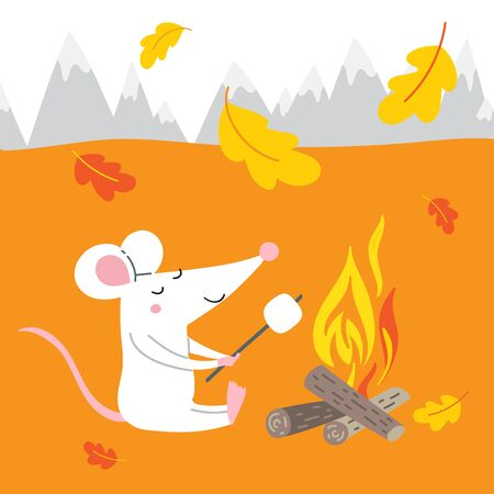 Vector illustration of cute rat on autumn vacation in hike camping, near bonfire with marshmallow. Çizim