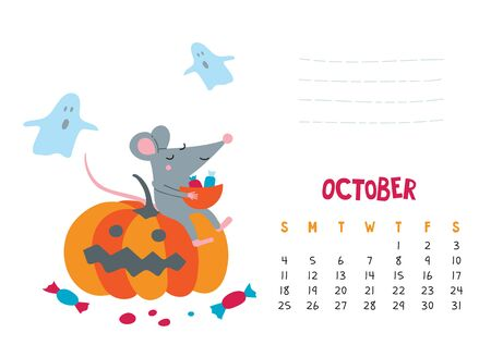 October. Vector calendar page with cute rat celebrate Halloween - Chinese symbol of 2020 year. Editable template A5, A4, A3 size, can be printed and used as a desk, table, wall calendar for schedule and plans Illustration