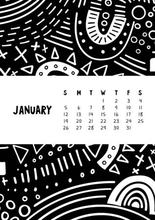 January. Vector colorful monthly calendar for 2020 year with abstract marker doodle.