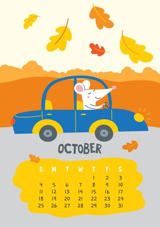 October. Vector calendar page with cute rat driving car - Chinese symbol of 2020 year.