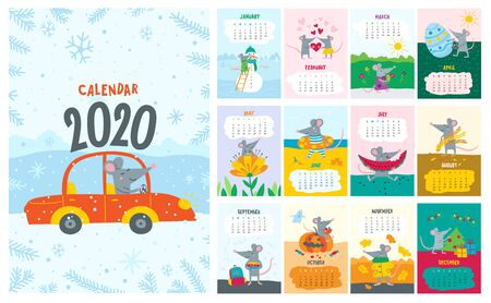 Vector colorful monthly calendar with a cute rat - a symbol of the 2020 year according to Chinese calendar.