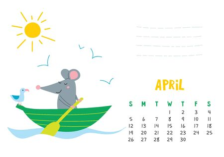 April. Vector calendar page with cute rat in travel - Chinese symbol of 2020 year.