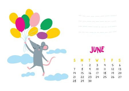June. Vector calendar page with cute rat in travel - Chinese symbol of 2020 year. Illustration