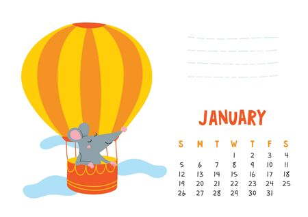 January. Vector calendar page with cute rat in travel - Chinese symbol of 2020 year.