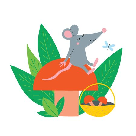 Vector illustration of cute rat sit on autumn mushroom. Can be used as a template for calendar, card, banner, invitation, children book, apparel.