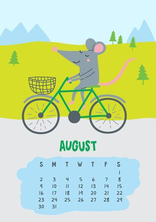 August. Vector calendar page with cute rat in travel - Chinese symbol of 2020 year.
